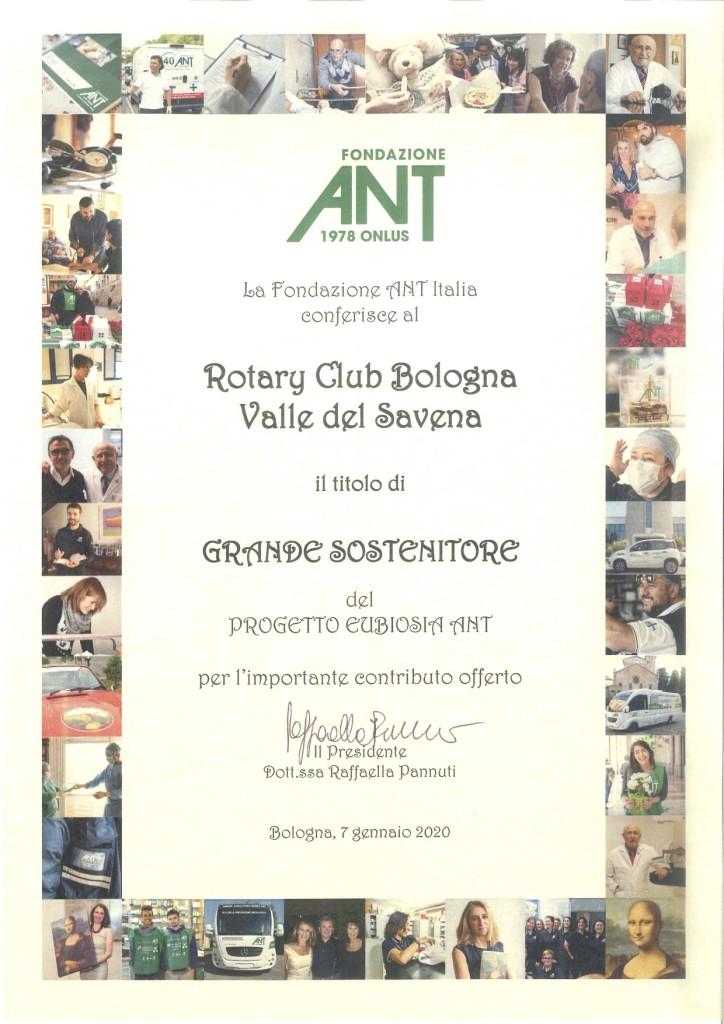 Diploma Rotary Club BO Valle del Savena