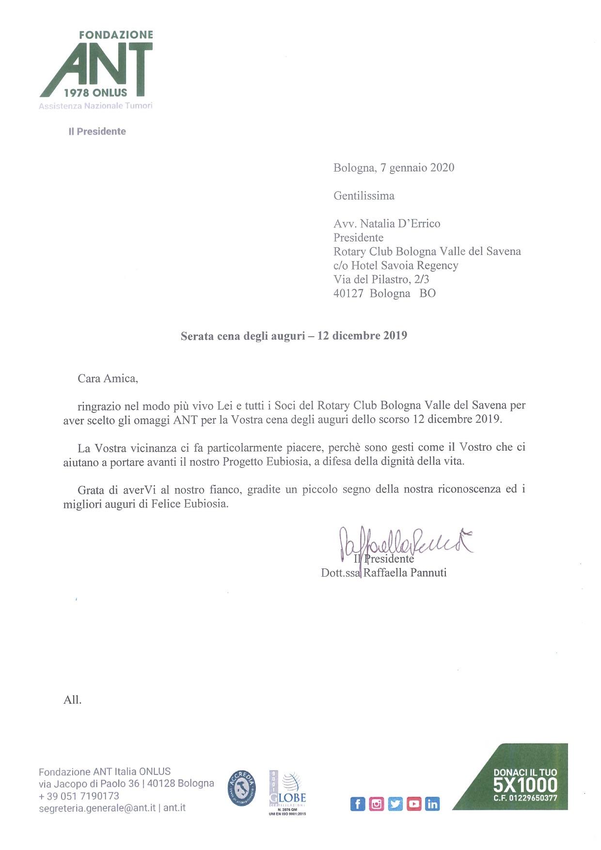 Ringraziamento Rotary Club BO Valle del Savena